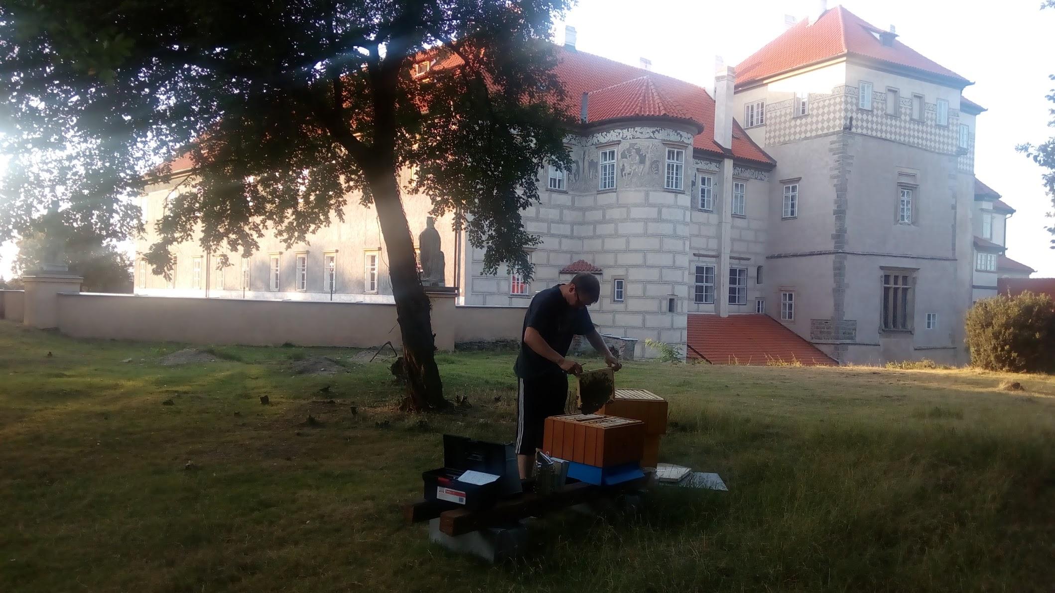 Úl našich mladých včelařů v zámecké zahradě